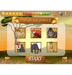 Game template with wild animals in the field vector