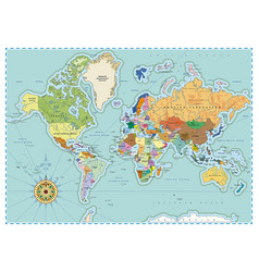 Highly detailed political world map in retro style vector