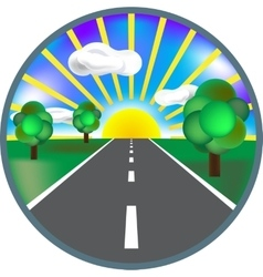 Paved road icon with green roadside curly bushes vector image vector image