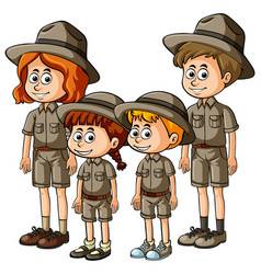 People in safari outfit vector