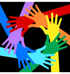 Rainbow Colors Hands Icon on black background vector image