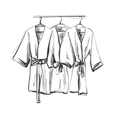 robe for the shower bathrobe doodle style vector image