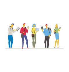 students with gadgets - flat design style colorful vector image vector image