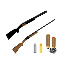 two guns for hunting ammunition and shot vector image