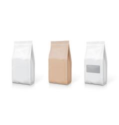white foil or paper snack bag set packaging vector image vector image
