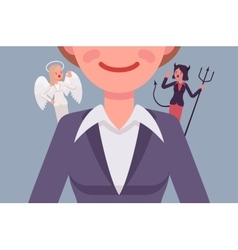 Angel and devil on the woman shoulders vector