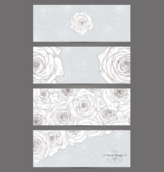 banners with beautiful roses vector image vector image