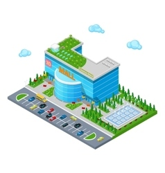 Isometric Shopping Mall Building with Cinema vector image vector image