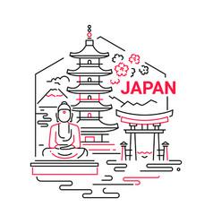 Japan- modern line travel vector