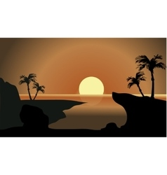 silhouette of beach and moon vector image