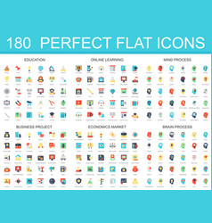 180 modern flat icon set of education online vector