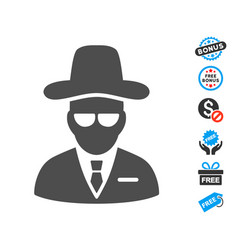 Agent flat icon with free bonus elements vector