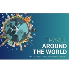 Around the world flat design postcard vector