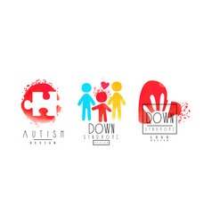 Autism and down syndrome logo templates collection vector