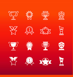 awards trophy and prizes line and outline icons vector image