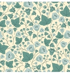 Bellflowers berries and leaves seamless pattern vector image
