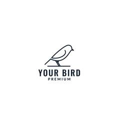 Bird canary animal line minimalist logo design vector