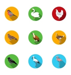 Bird set icons in flat style Big collection of vector
