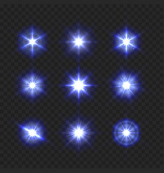 blue light sparkling and shining stars set on vector image