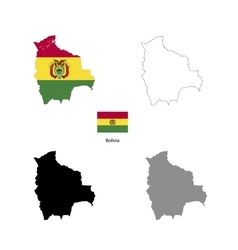 bolivia country black silhouette and with flag vector image