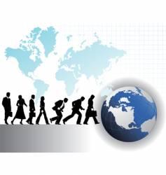 Businesspeople globe vector