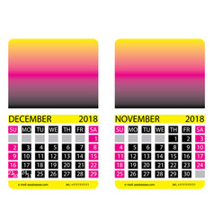 Calendar griddecember november vector