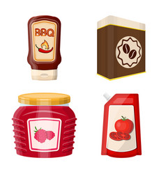 can and food symbol set of vector image