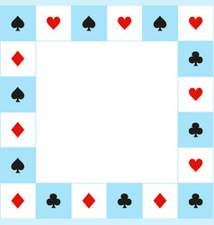 Card suits blue white chess board border vector