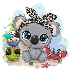 cartoon koala owls and crab on beach vector image