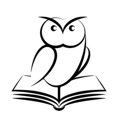 Cartoon owl and book - symbol wisdom vector