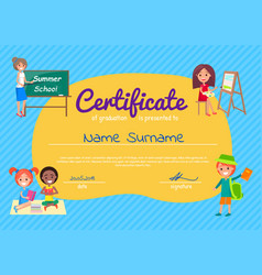 Certificate of graduation poster with students vector