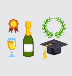 champagne bottle and graduation hat vector image
