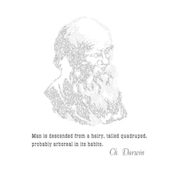 Charles Darwin typographic design with citat vector image