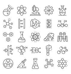 chemistry lab icon set outline style vector image