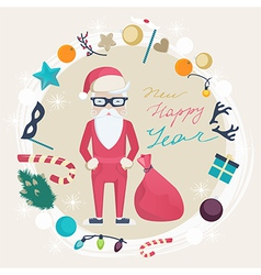 Christmas and New Year card with funny Santa Claus vector