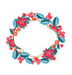 christmas mistletoe wreath over white vector image