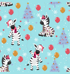 Christmas seamless pattern with zebra background vector