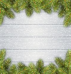 Christmas Tree Pine Branches Like Frame on Wooden vector