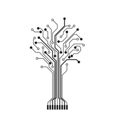 Circuit tree silhouette technology design element vector