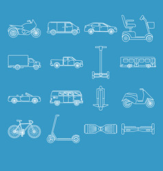 collection of transport icons in line style vector image
