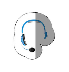 Color sticker of hands free headset icon vector