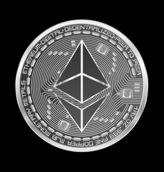 Crypto currency ethereum silver symbol vector