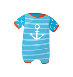 Cute baby boy romper with short sleeves and anchor vector