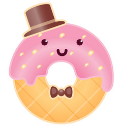 Cute intelligent donut character cartoon vector