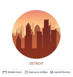 detroit famous city scape vector image