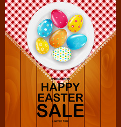 easter poster template with 3d realistic golden vector image