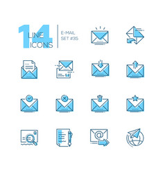 Email - set of line design style icons vector