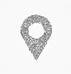 Emblem marker for a map of decorative ornate vector