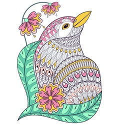 entangle exotic bird in colorful flowers hand vector image
