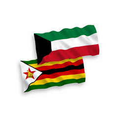 Flags zimbabwe and kuwait on a white background vector